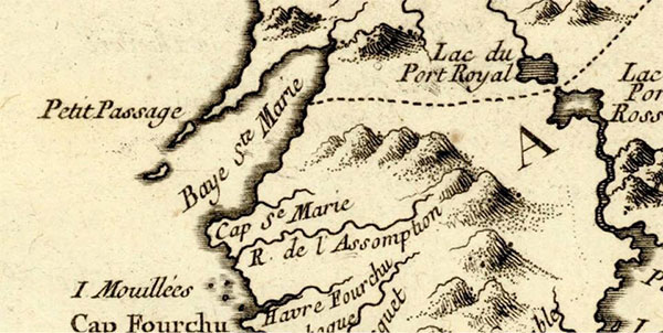 Saint Mary's Bay (Baie Sainte-Marie) was among the first places in Nova Scotia to be mapped by French cartographer Samuel de Champlain
